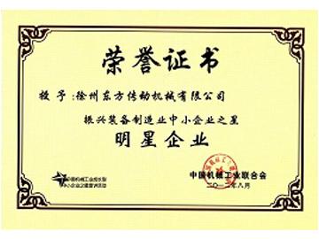 明星企业荣誉证书